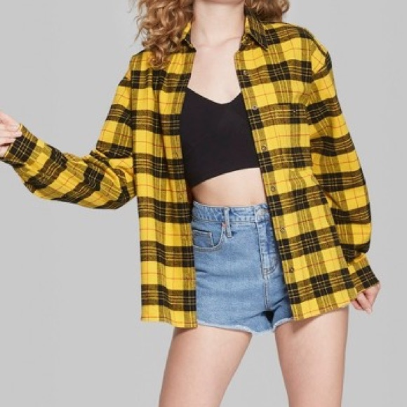 9b75a501 wild fable Tops   Yellow Flannel   Poshmark